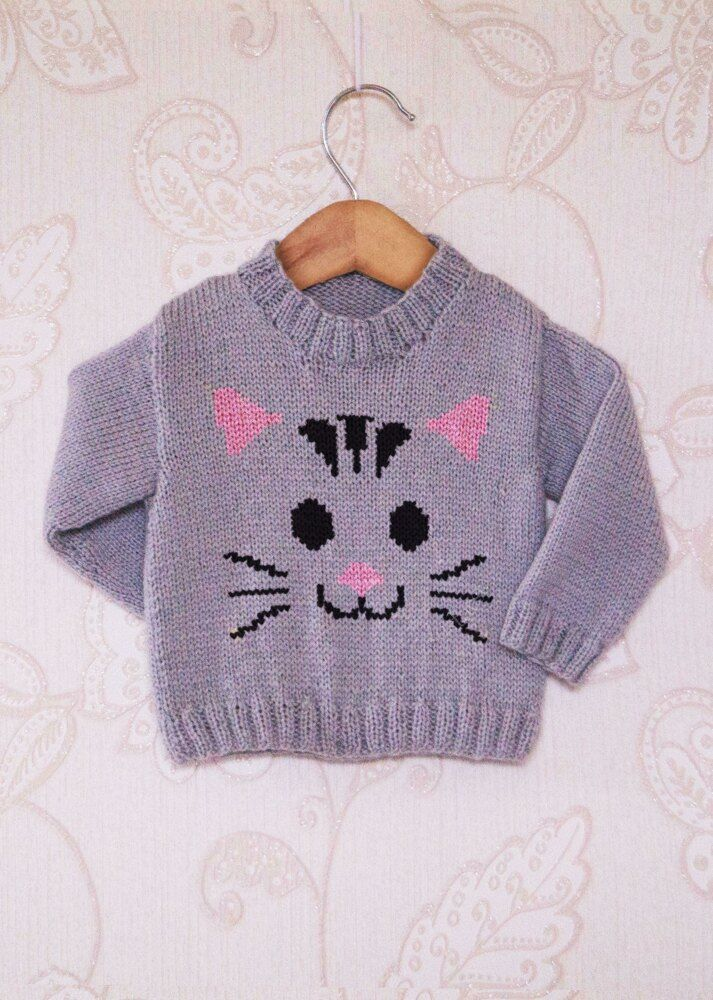Intarsia - Cat Face Chart & Childrens Sweater Knitting pattern by Instarsia #children'ssweaters