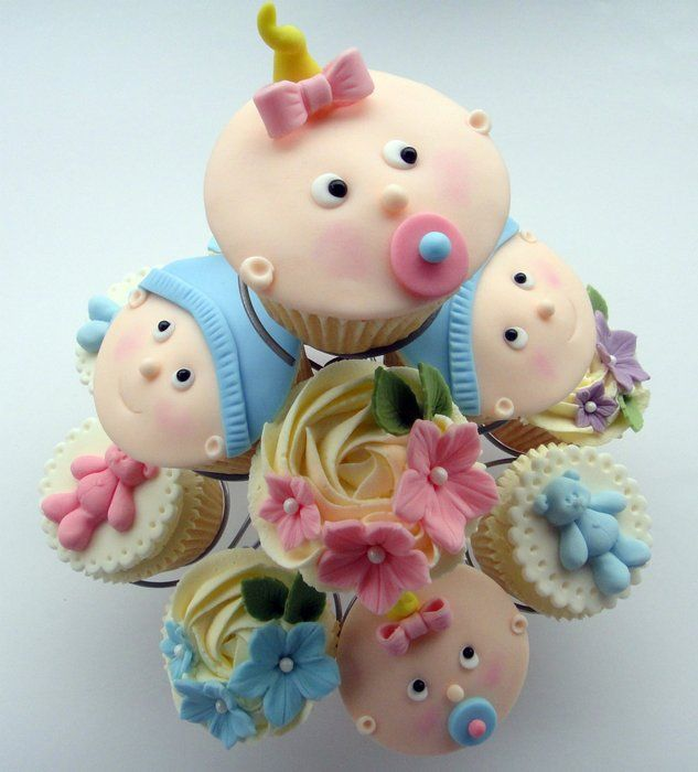 """""""Babyface and Flowers Cupcakes..."""" So adorable for a Baby Shower for either a boy or a baby girl..."""