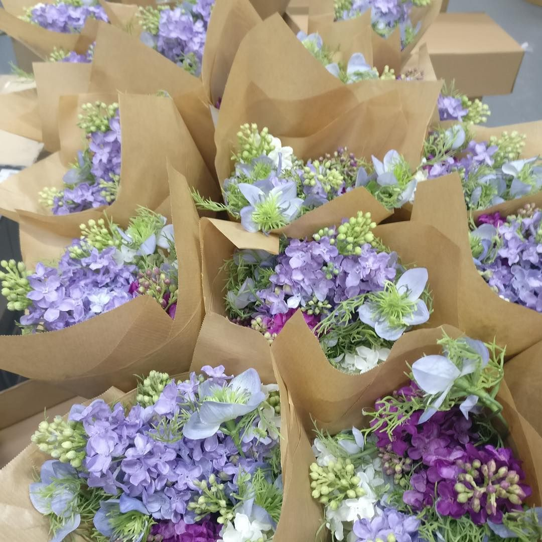 Bloomukcomflorist Steph Lois Has Been At Hq Today Making Up Some More Stock Of Our Lilac And Nigella Posies Get Yours Bloom Silk Flowers Artificial Flowers