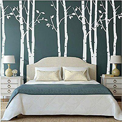 Set di 9 adesivi da parete di alberi di betulla grandi, colore ...