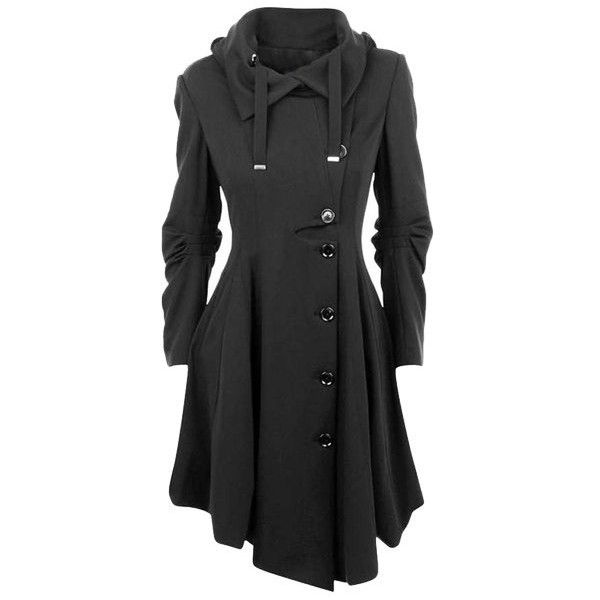 Stylish Turn-Down Collar Long Sleeve Asymmetrical Button Design... (€29) ❤ liked on Polyvore featuring outerwear, coats, asymmetrical coat, collar coat, asymmetrical collar coat, long sleeve coat and button coat