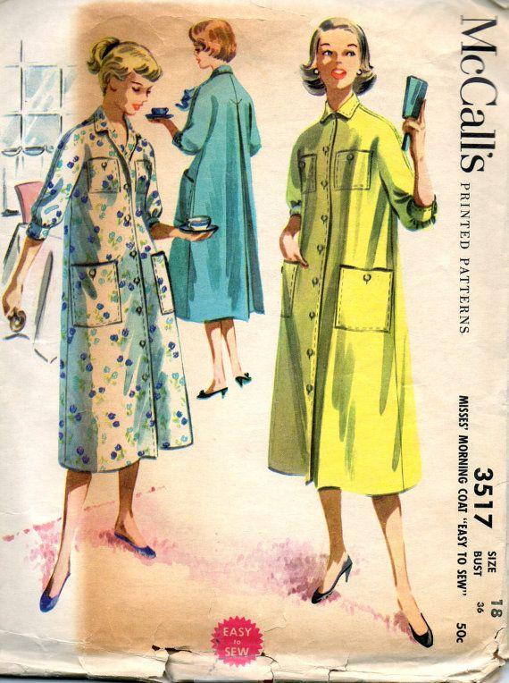 McCalls 3517 1950s Misses Housecoat Pattern Duster Robe Pattern EASY ...