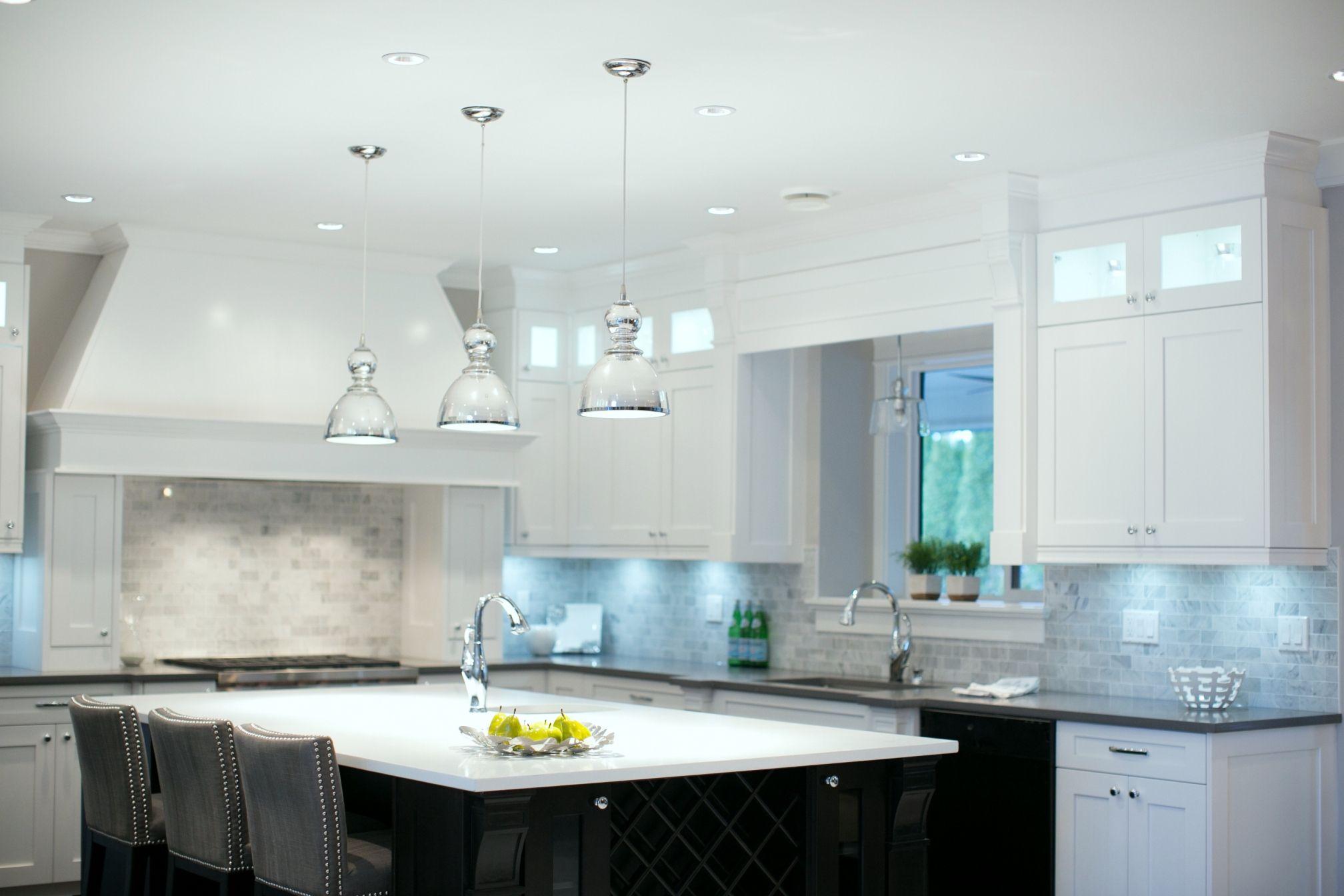 white cabinets, gray quartz countertop and Bianco Carrara 2x4 marble ...