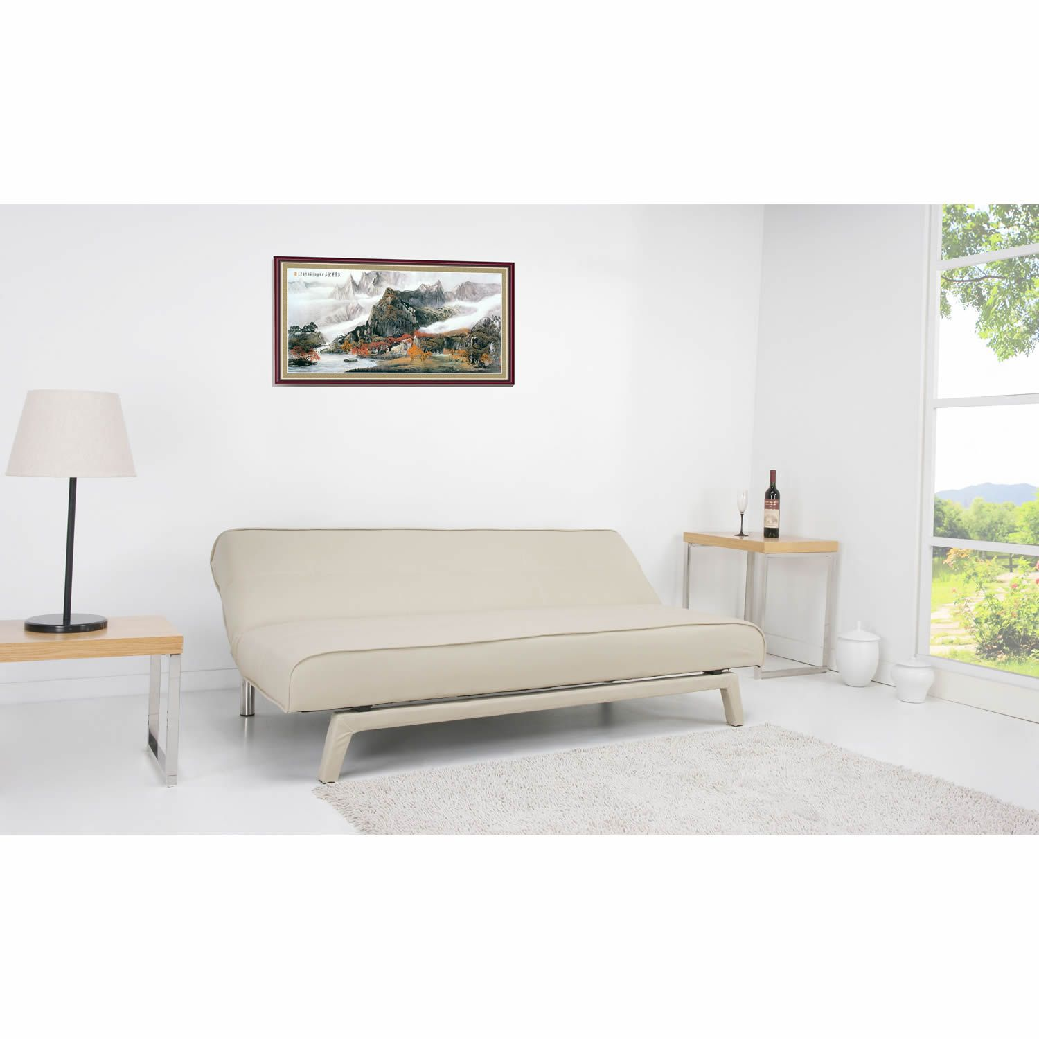 Johansson Faux Leather Sofa Bed in Cream SofaBedsWorld