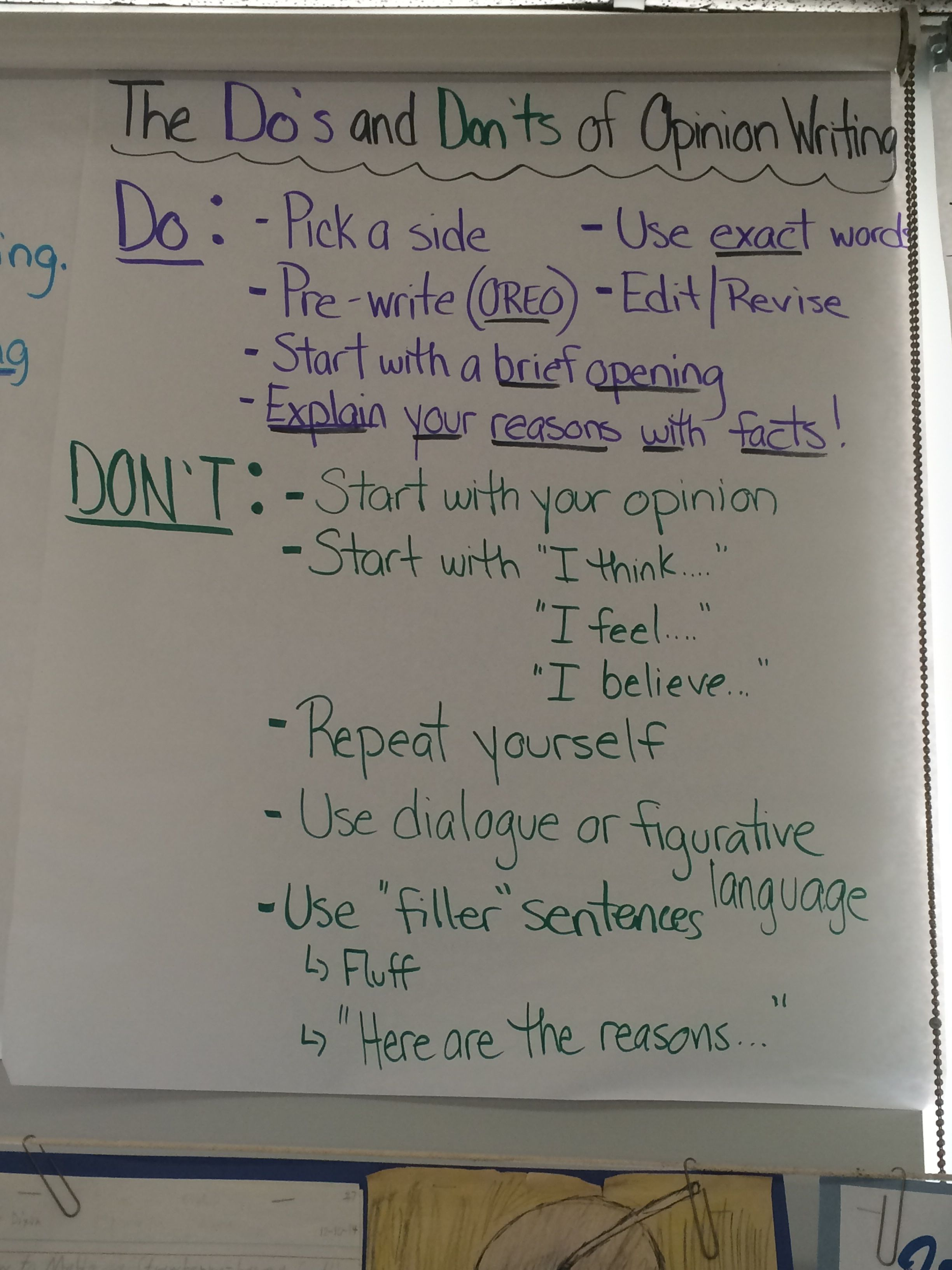 Do S And Don Ts Of Opinion Writing Anchor Chart Opinion Writing Anchor Charts Writing Anchor Charts Opinion Writing