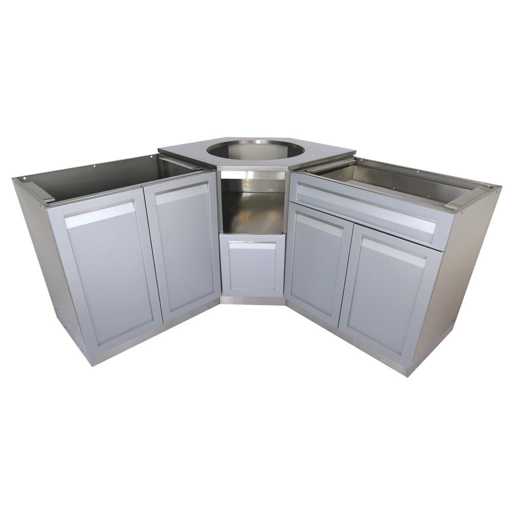 4 Life Outdoor 3 Piece 101x36x37 In Stainless Steel Outdoor Kitchen Kamado Corner Cabinet Set Wit Outdoor Kitchen Outdoor Kitchen Design Kitchen Design Styles