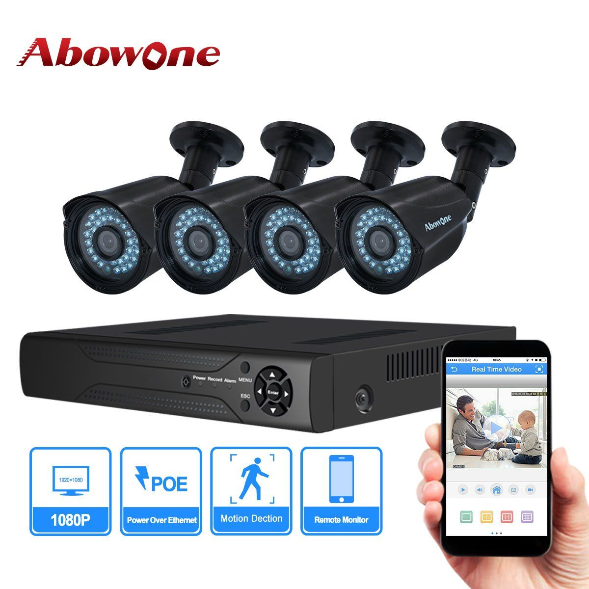 Abowone 1080p Poe Security Cameras System With 4ch 2 0mp Standard Poe Cameras Home Security Camera Systems Security Cameras For Home Security Camera System