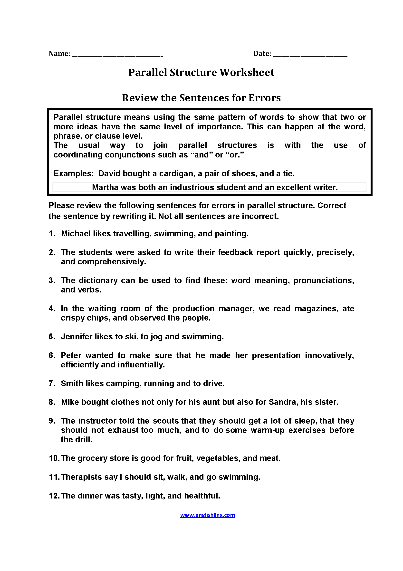 Worksheets Parallelism Worksheet review sentences for errors parallel worksheets english language this structure worksheet directs the student to correct each sentence by rewriting it must find errors