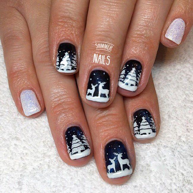 Snow Scene Navy White Xmas Nail Design Shimmer Nails St Albans