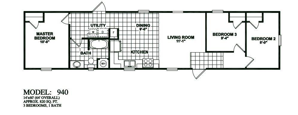 single wide 3 bedroom 1 bathroom mobile home floor plans
