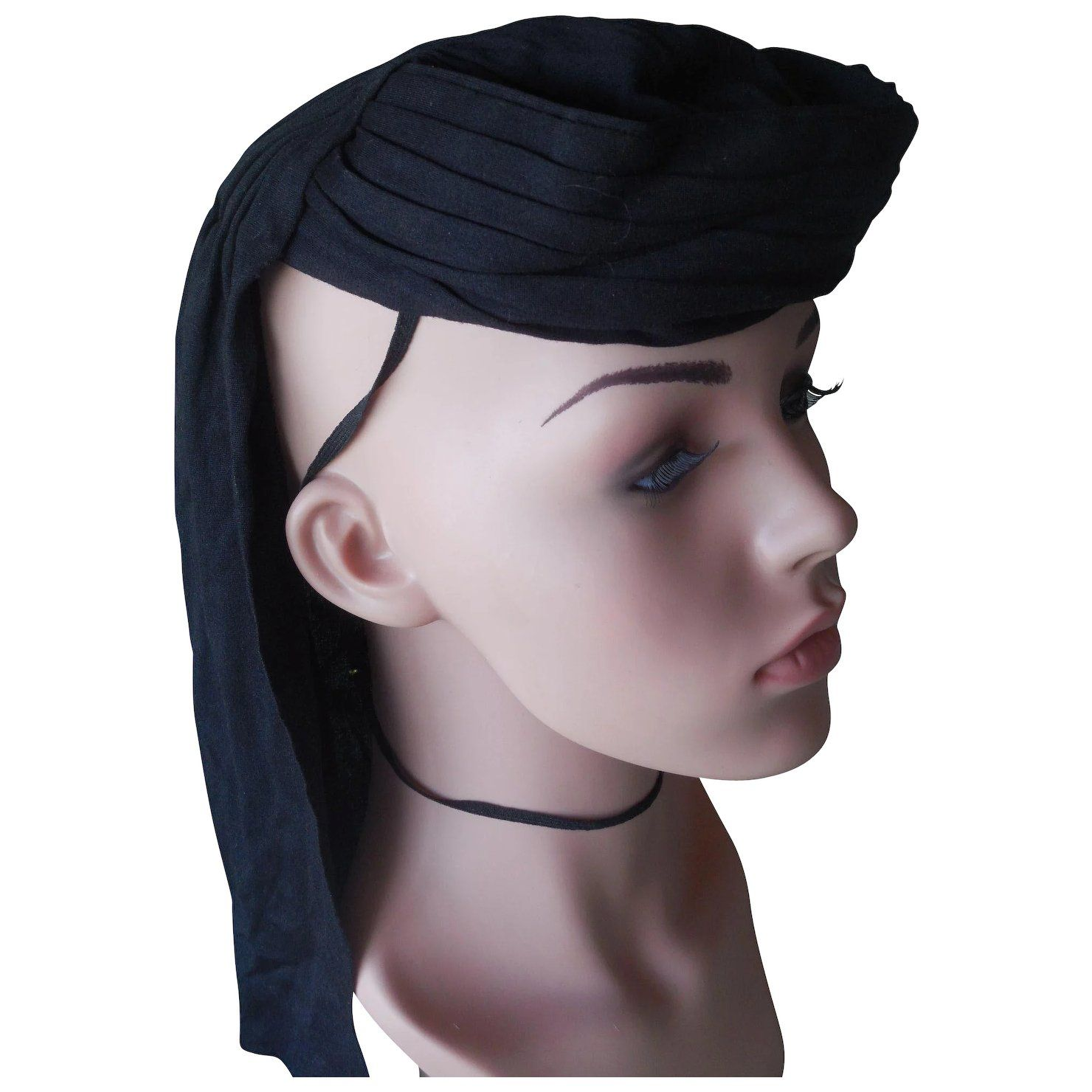 Vintage 1920's Black Silk Eqyptian Style Hat Hat fashion