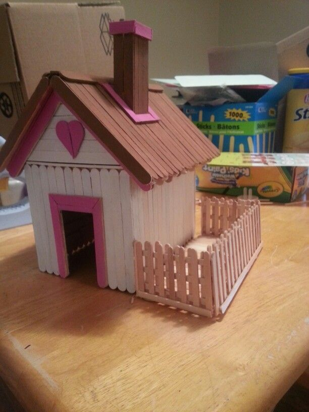 Cute popsicle stick house idea for kids crafts for Popsicle crafts for kids