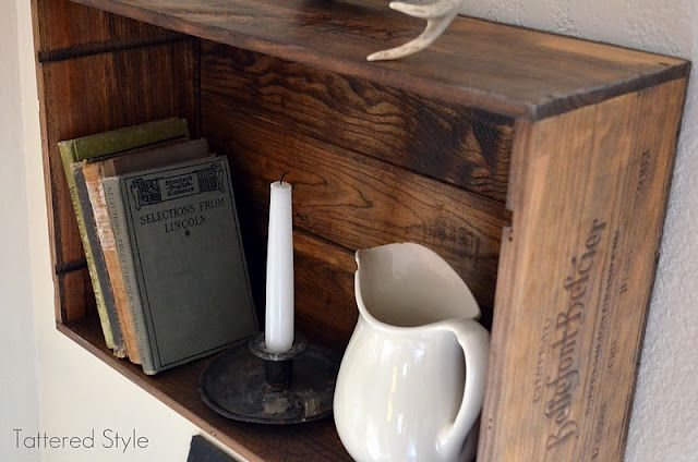 Tattered Style Wine Crate DIY Book Display Shelf
