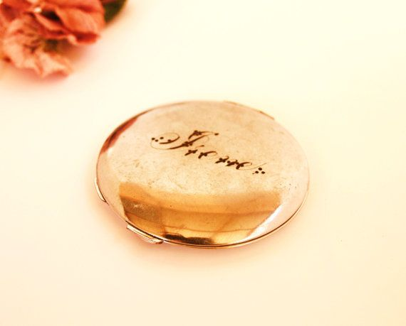 ANTIQUE Silver IRENE Engraved monogram Compact by lavibohemme, $15.00