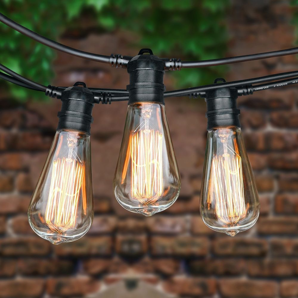 75 Foot Commercial Outdoor Patio String Lights   Set Of 22 ST64 40w Edison  Bulbsu2026
