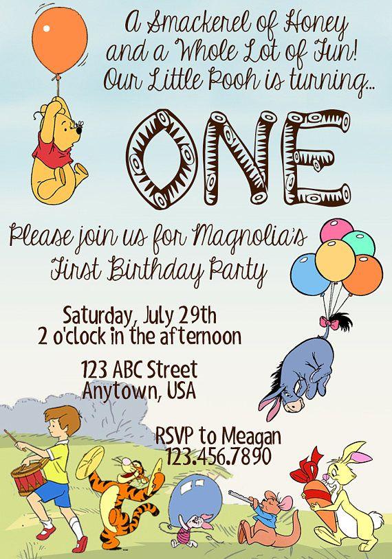 Winnie the pooh birthday invitation age one masons 1st birthday winnie the pooh birthday invitation age one filmwisefo