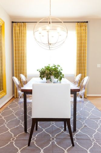 Eclectic Dining Room By Lilium Designs Like The Idea That If You Choose A Neutral Rug Pick Colorful Curtains And Vice Verse