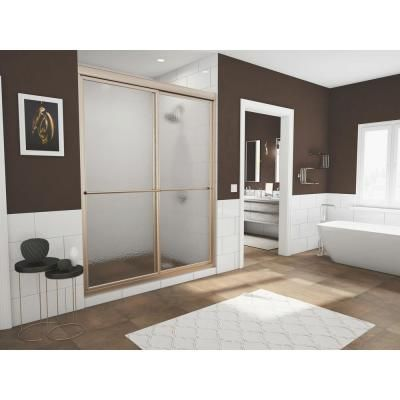Coastal Shower Doors Newport 54 in. to 55.625 in. x 70 in. Framed Sliding Shower Door with Towel Bar in Brushed Nickel and Aquatex Glass-1654.70N-A - The Home Depot