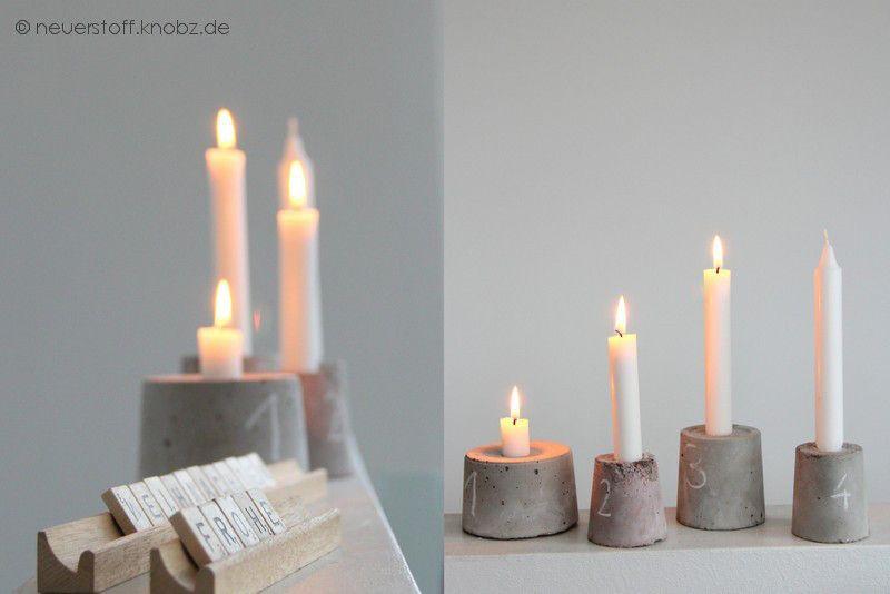 kerzenst nder aus beton von knobz beton pinterest kerzenst nder geschenke selber machen. Black Bedroom Furniture Sets. Home Design Ideas