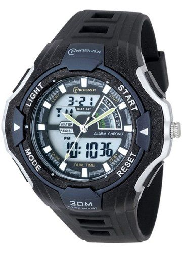Water-proof Digital-analog Boys Girls LED Sport Watch with Multi-Function Rubber Strap Watch MR-8006016AD-3