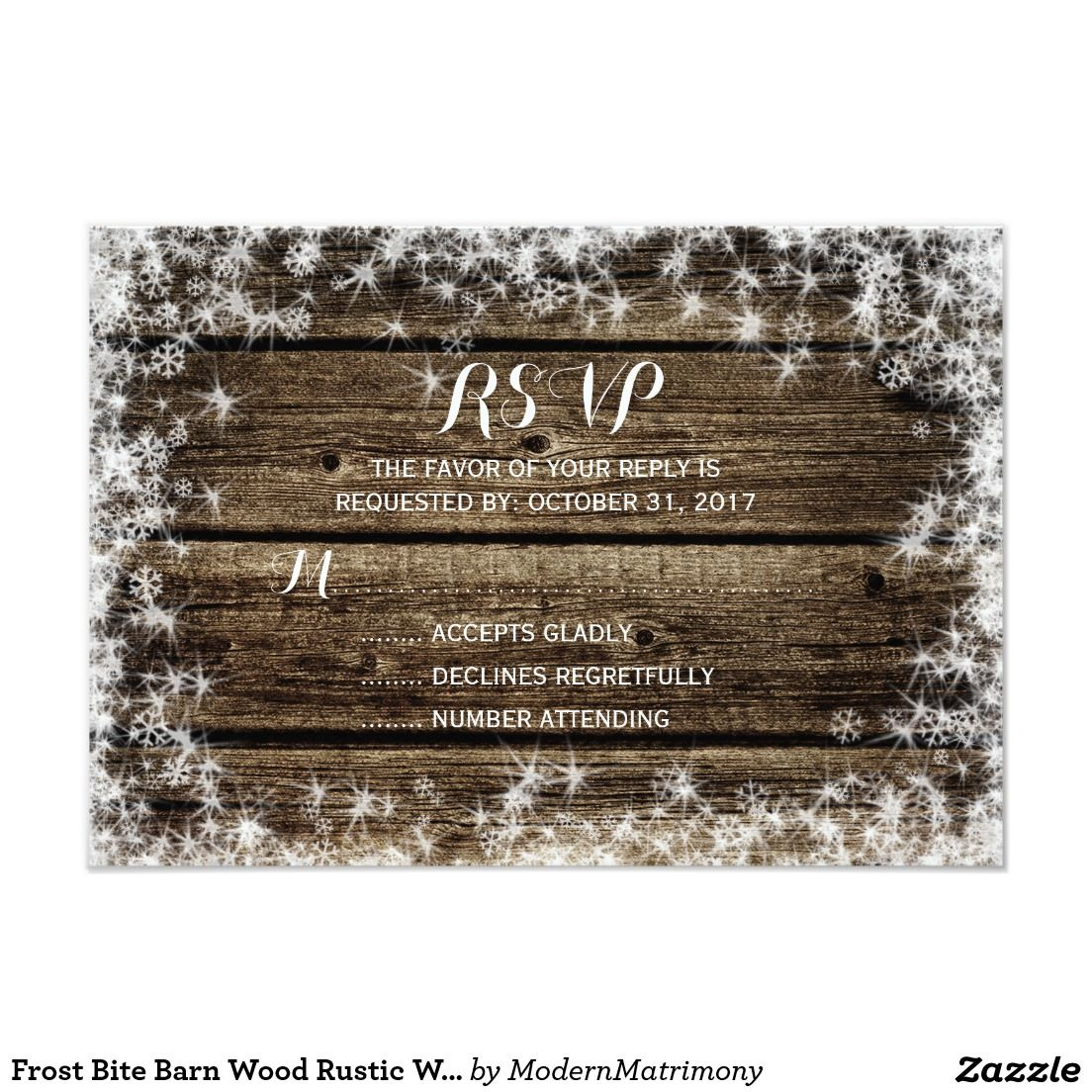 Frost Bite Barn Wood Rustic Winter Wedding RSVP Zazzle