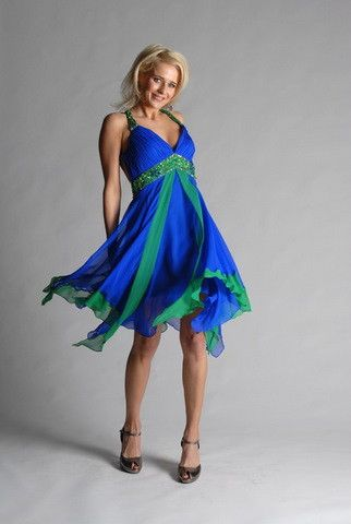 green and blue dress - Dress Yp