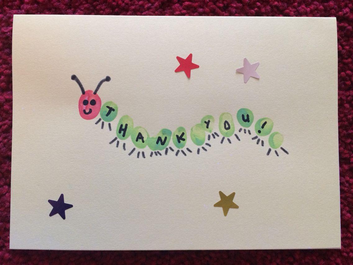 Thank You Card For Toddlers Fingerprint Caterpillar Home Made Diy