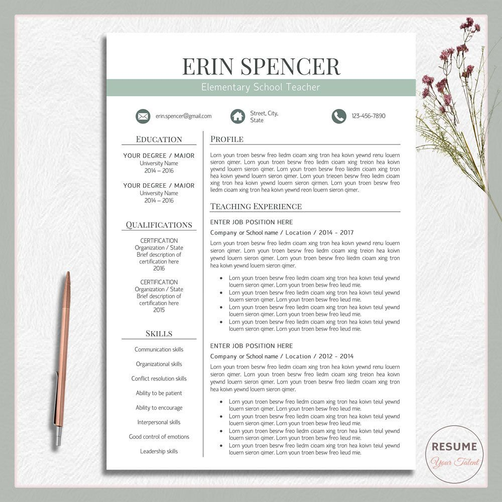 Teacher resume template, Teacher cv template, CV template word, CV ...