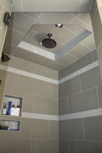 large rectangle wall tile but squares on ceiling