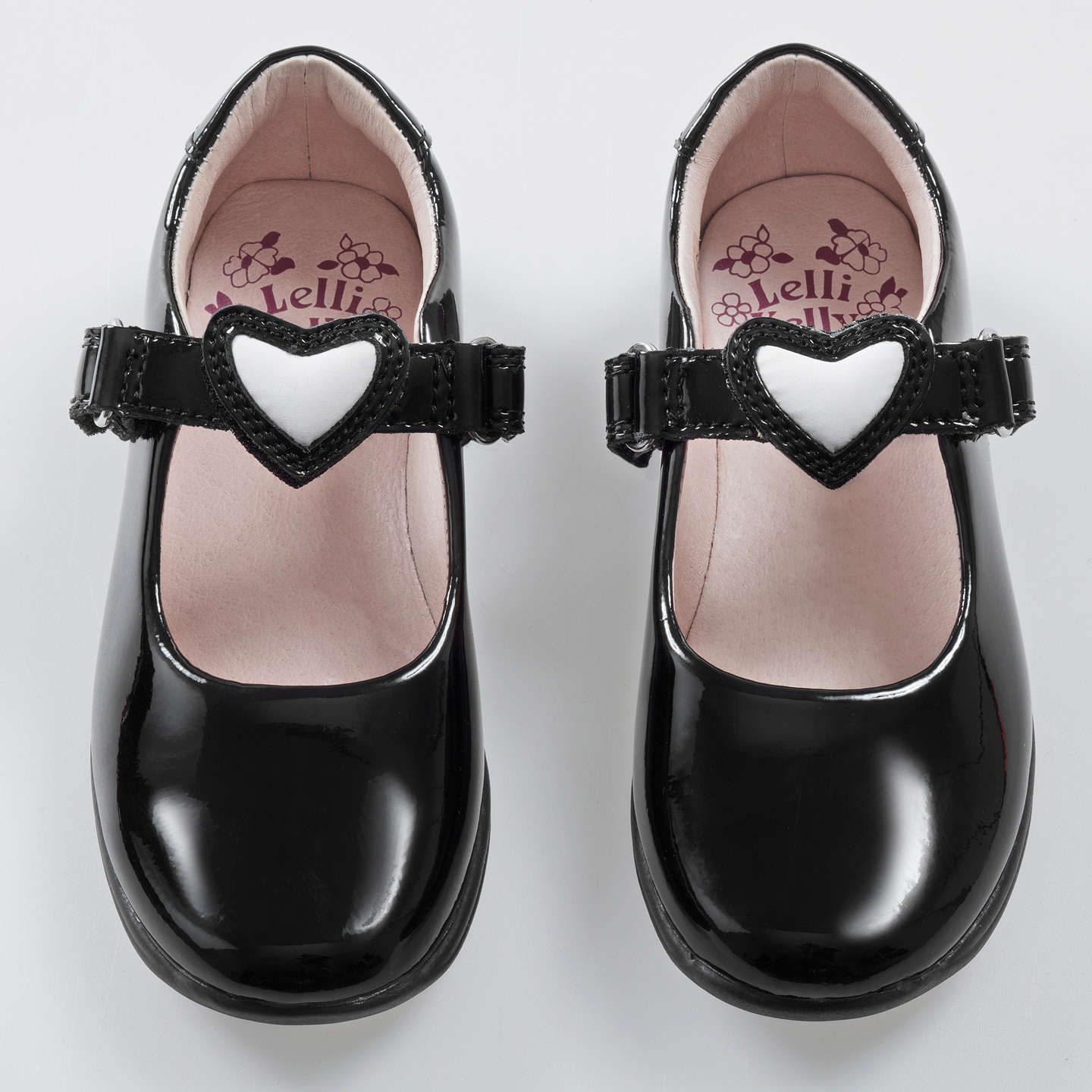 c6c1af30 BuyLelli Kelly Children's Dolly Heart Leather School Shoes, Black Patent,  30F Online at johnlewis.com