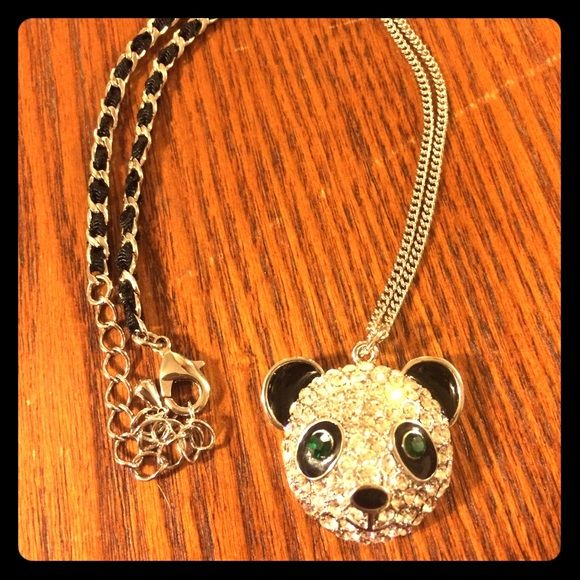 Lia Sophia Panda necklace Beautiful bejeweled panda necklace with adjustable length. Worn once and in flawless condition and original box. Lia Sophia Jewelry Necklaces