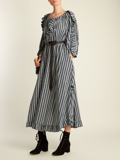 Striped ruffle-trimmed crepe midi dress Sonia Rykiel Free Shipping Cheapest WDHqbHKk