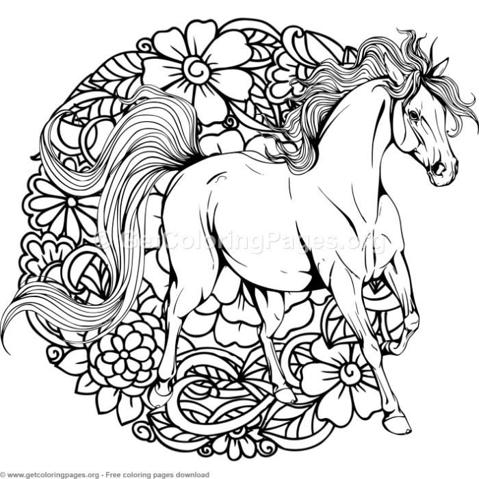 3 Horse Mandala Coloring Pages Free Instant Download Coloring