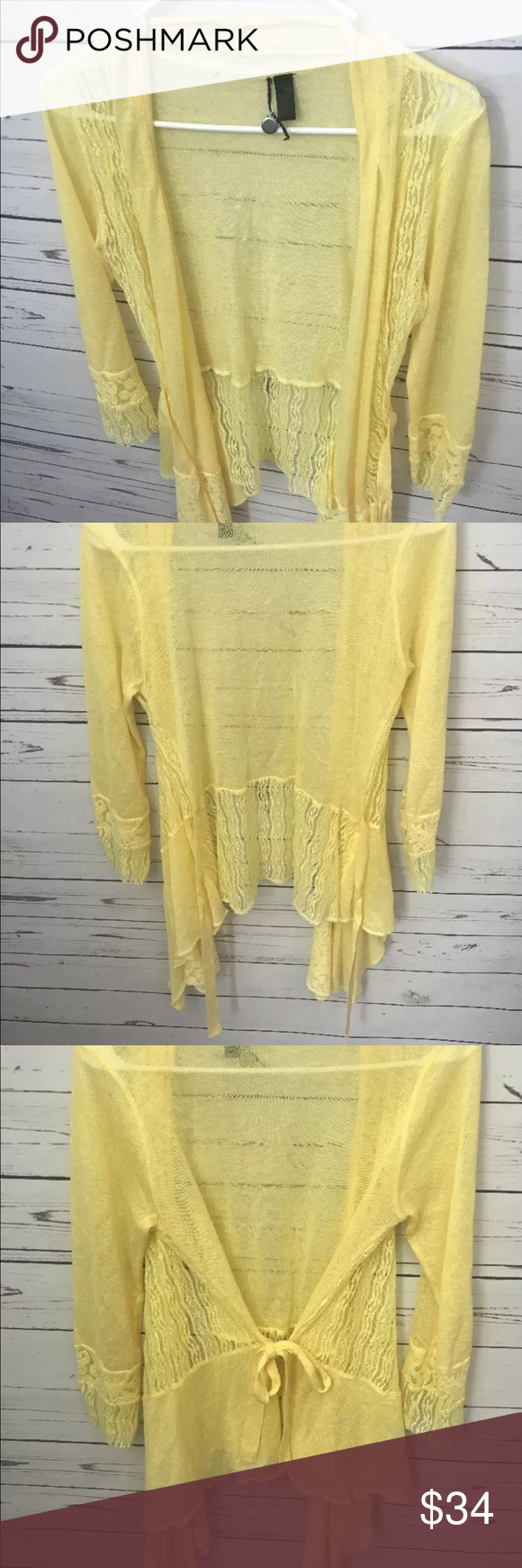BKE Buckle Boutique Yellow Open Front Cardigan | Open front ...
