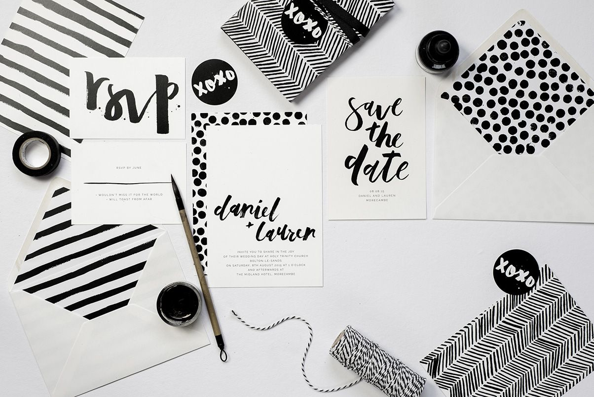 brush lettering, dots, stripes, modern wedding invitations ...