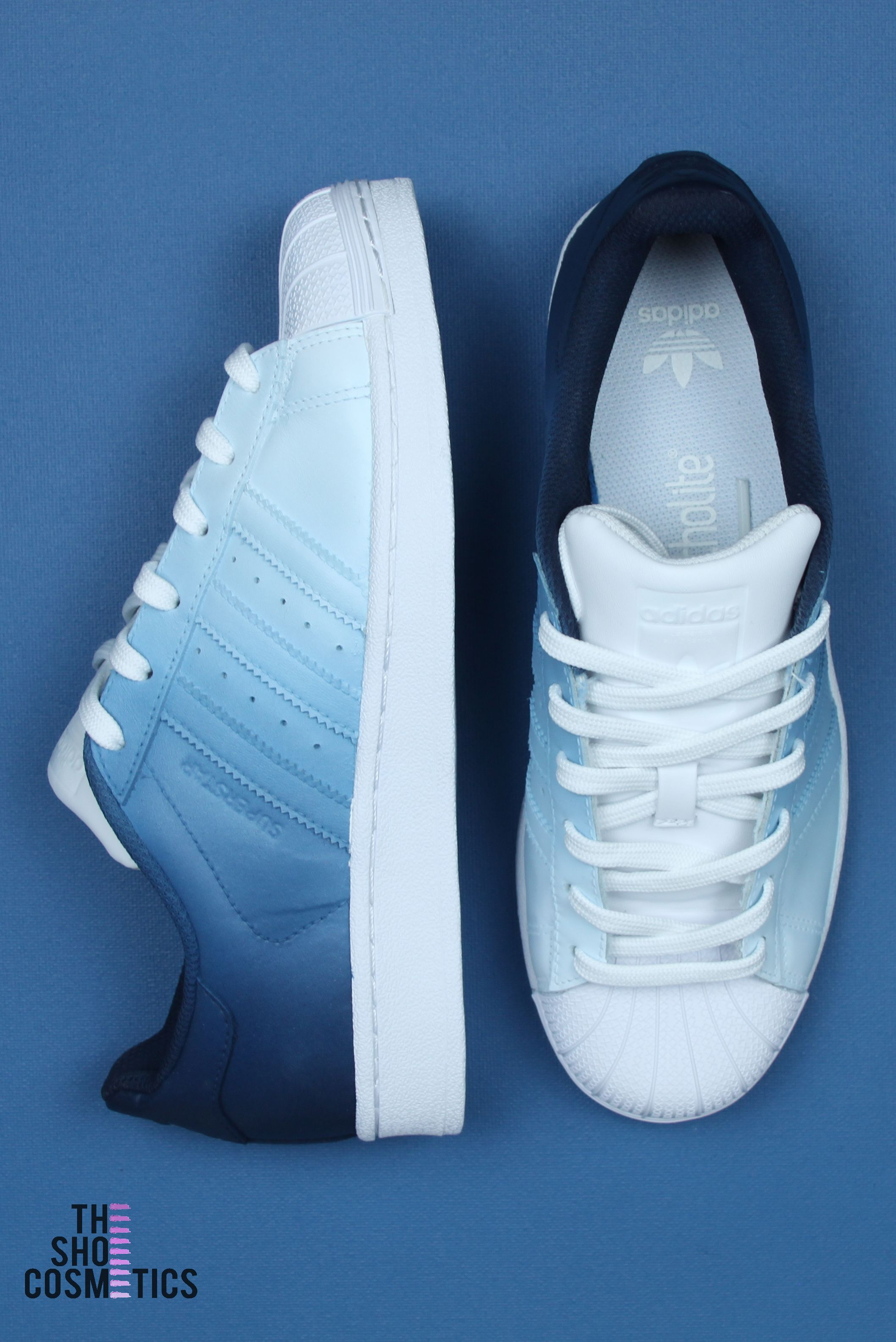 Navy blue ombre adidas superstar custom shoes | Chaussure en