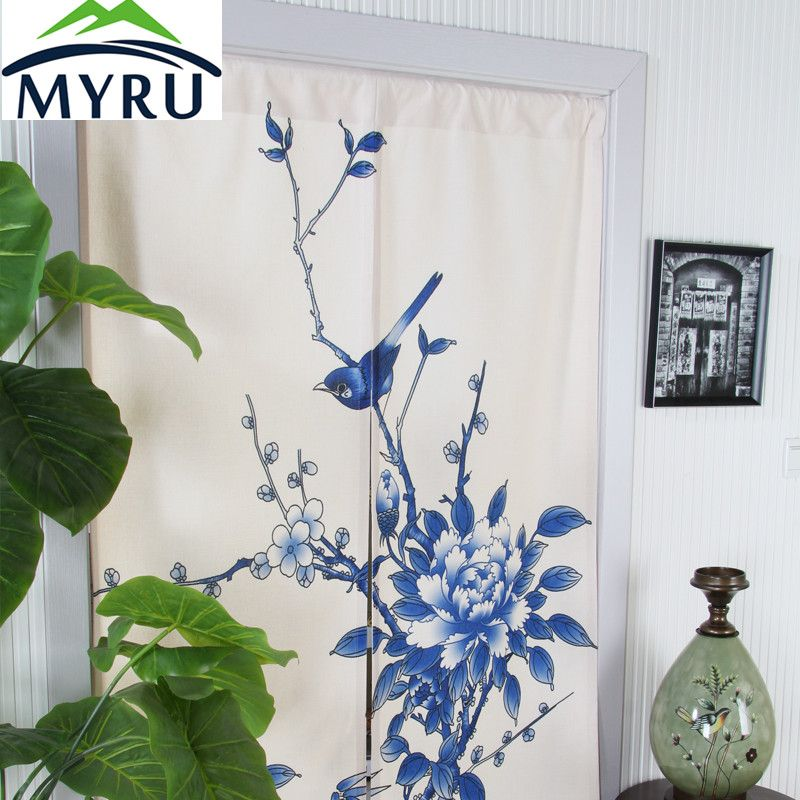 Myru Chinese Style Blue And White Cotton Curtain Feng Shui Kitchen