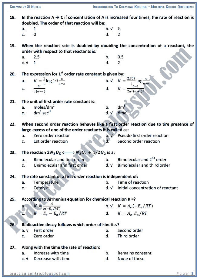 Practical Centre Introduction To Chemical Kinetics Mcqs Chemistry Xi Chemical Kinetics Chemistry Chemistry Study Guide