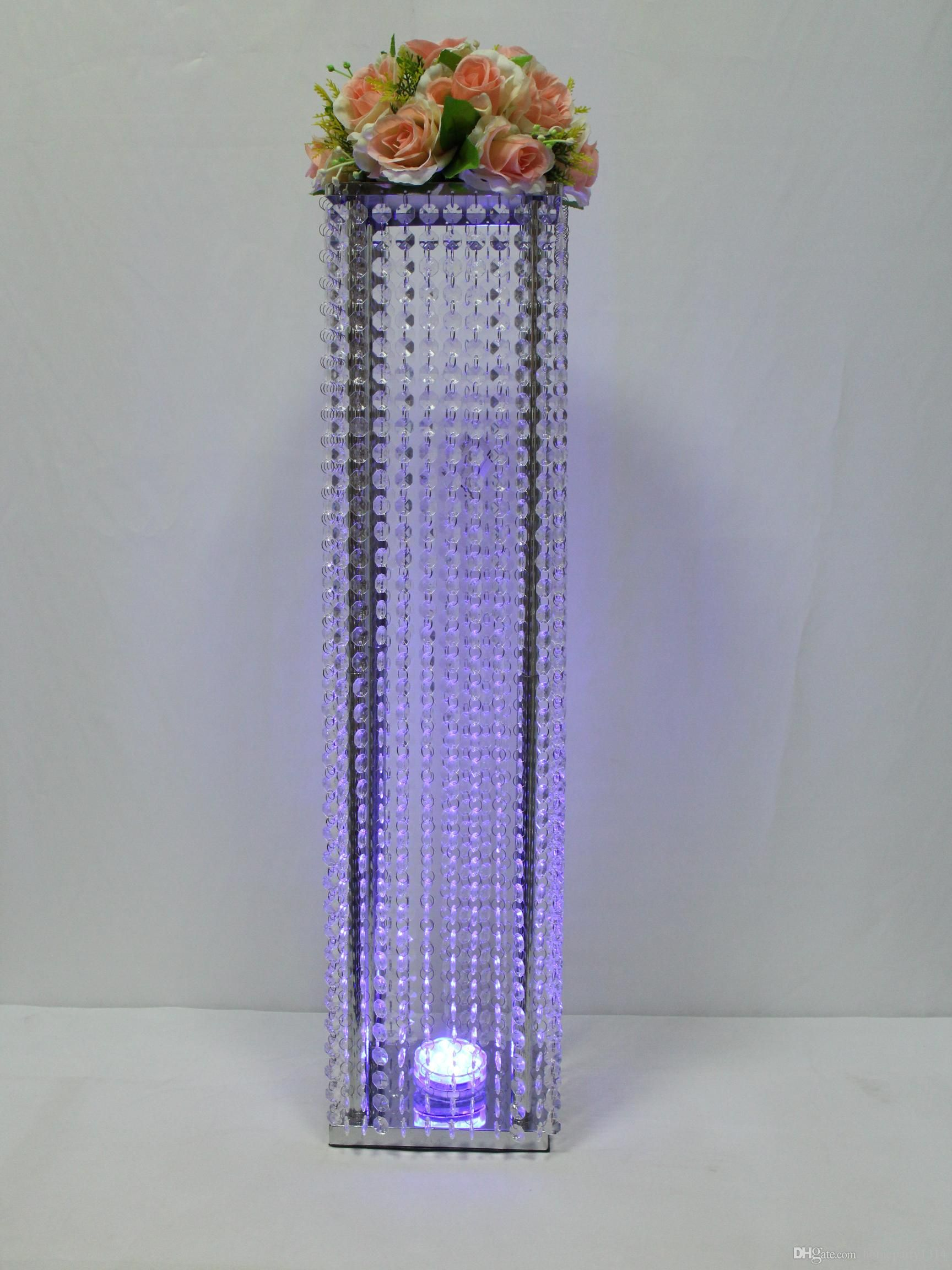 2018 Iron Metal Crystal Flower Stand Vase Aisle Fl Decor Tall Wedding Centerpieces Cake Road Lead With Led Light