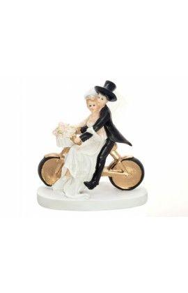 Taarttopper  'bruidspaar op de fiets'