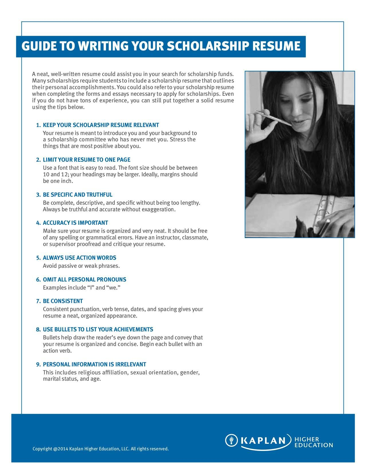 Guide to writing your scholarship r esume scholarships