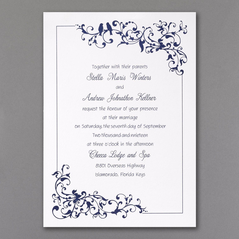 Little Love Birds Invitation White Wedding Invitations