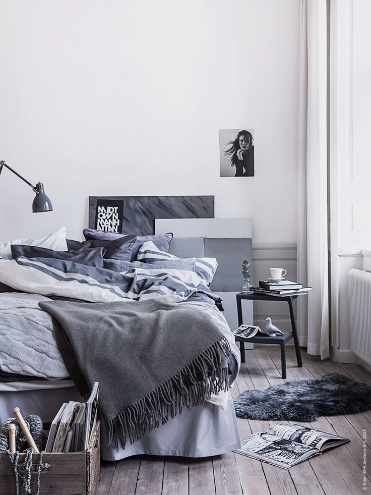 Shades Or Grey And Blue In A Scandinavian Bedroom Bedroom Trends Scandinavian Design Bedroom Home Bedroom
