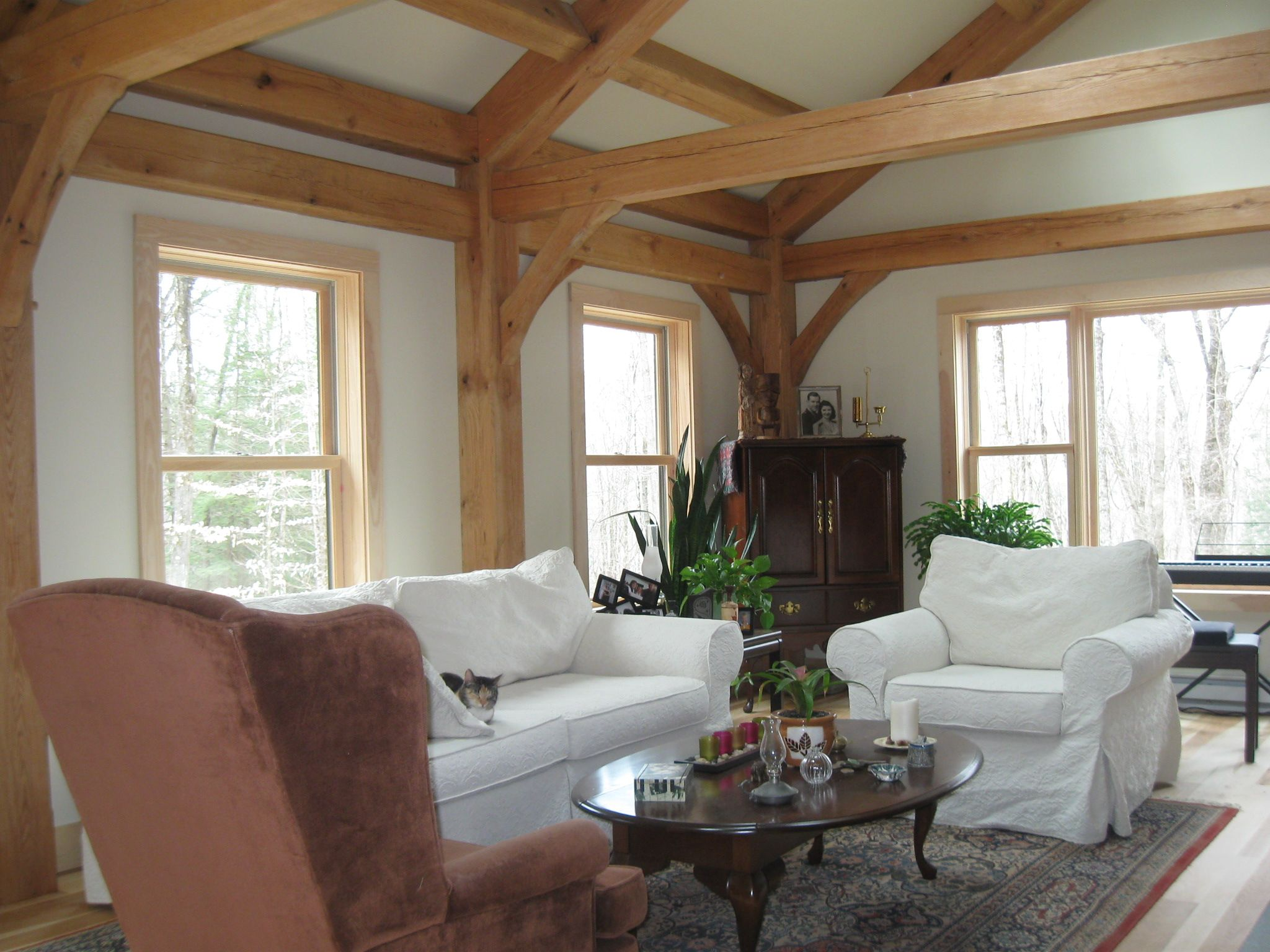 New England Living Room New England Custom Timber Frame Cabin With Cathedral Ceiling From