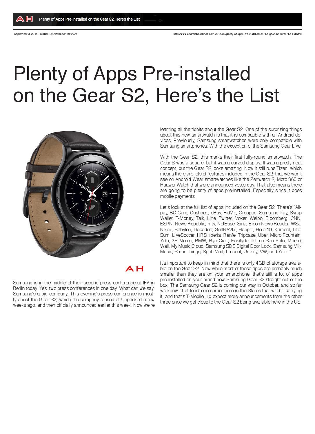 Androidheadlines 2015 App, Smart watch, New readers