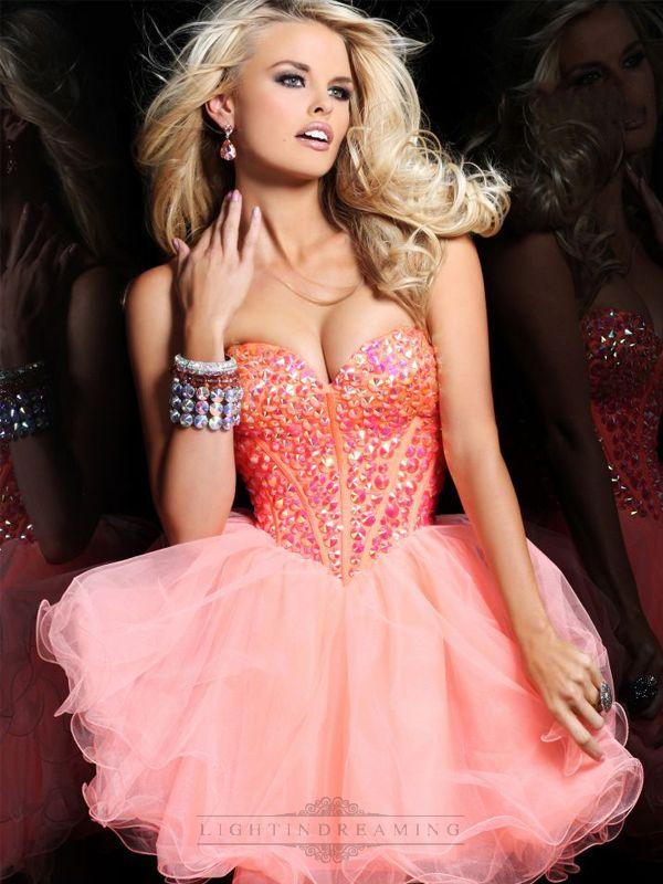 Short Strapless Sweetheart Prom Dress