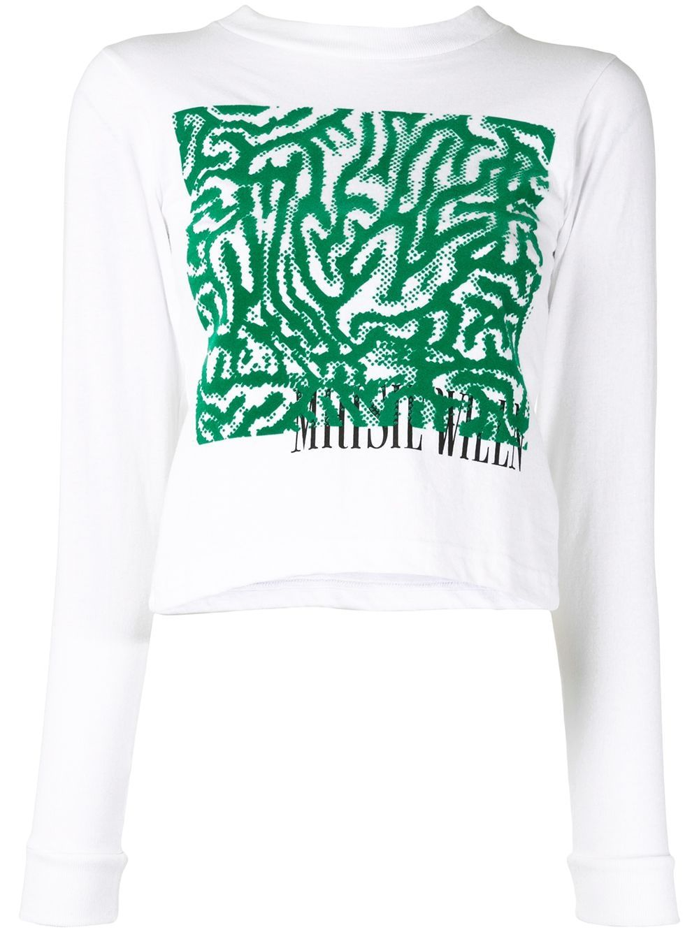 White cotton YS104 graphic T-shirt from Maisie Wilen featuring a round neck, a print to the front, long sleeves and a straight hem.