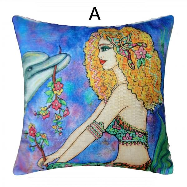 Beautiful mermaid decorative pillows for girls hand painted style sofa cushions
