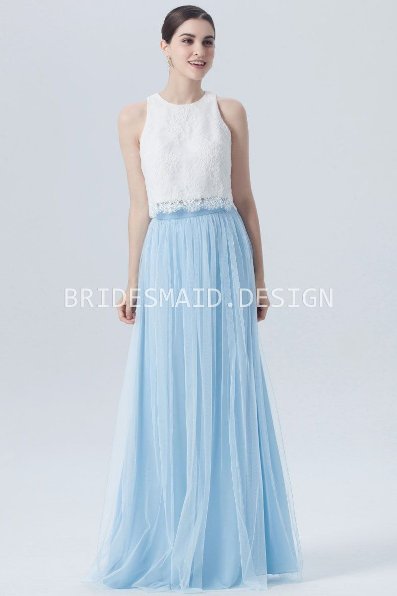 Cute two piece dress features a sleeveless lace top with a jewel ...