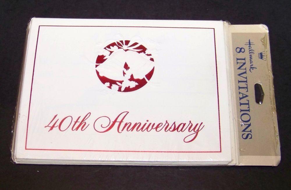 40th Anniversary Party Invitations 8 Count Hallmark Red White ...